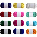 Rameng 12 Assorted Colors Acrylic Yarn Knitting and Crochet Yarn Bulk Soft for Children (A,12Colors)