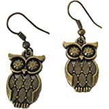 Handmade Antique (001) Brass Owl Earrings