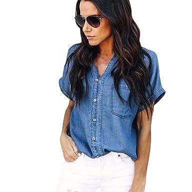 f82820438 2019 New Women's Jean Shirt, E-Scenery Casual Soft Denim Jean Button Short  Sleeve