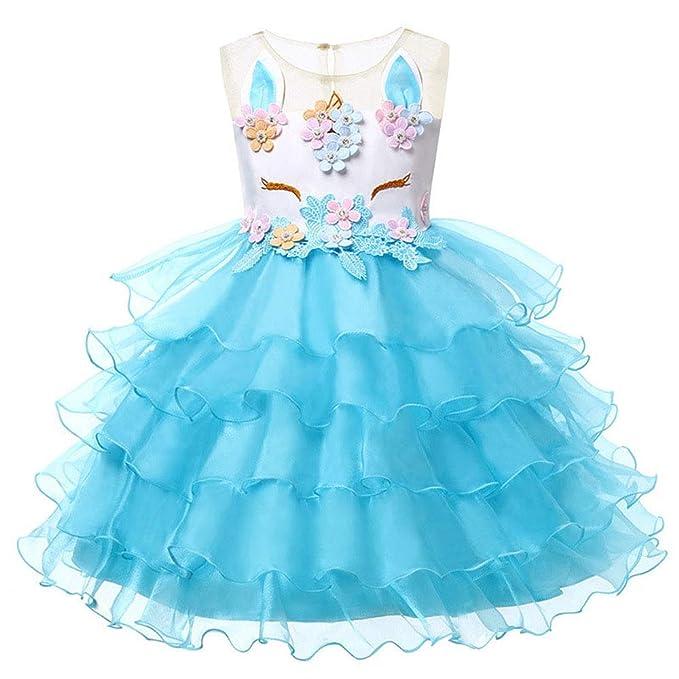 FONLAM Disfraz de Unicornio Vestido de Fiesta Princesa Niña Ceremonia Cumpleaños Vestido Infantil Flores Carnaval Niña