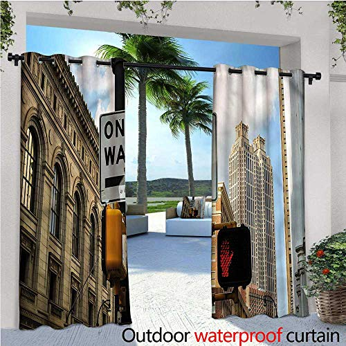 warmfamily City Patio Curtains One Way Stop Sign Atlanta Outdoor Curtain for Patio,Outdoor Patio Curtains W84 x L96 -