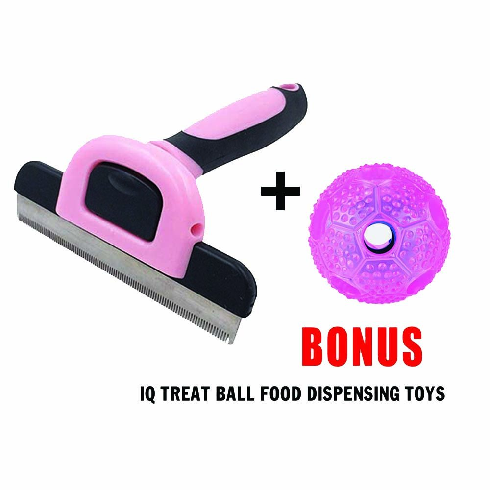 Dog Brush, Bonus IQ Dog Toy. Pet Grooming Glove, Hair Cat Comb,Shedding tool, Best Remover, 95% Professional Deshedding Tool, Soft Massage for your Puppy
