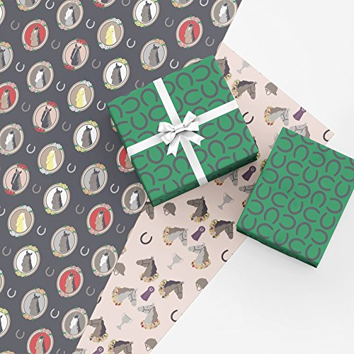 Equestrian Gift Wrap Collection, 9 Folded Sheets of Wrapping Paper with Horses, Horseshoes, Trophies and Ribbons, Easy to Store Folded Gift Wrap Paper, Made in America by Revel & Co