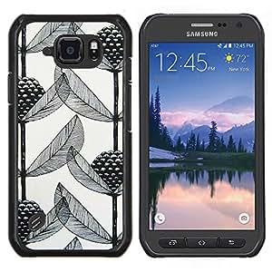TECHCASE---Cubierta de la caja de protección para la piel dura ** Samsung Galaxy S6 Active G890A ** --Arte Poder Blanco Negro