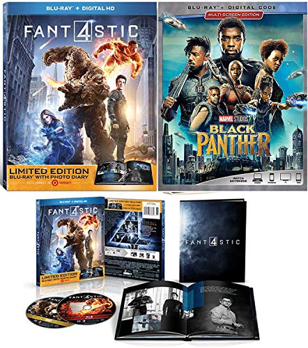 (FF Team Up Marvel Double Feature Fantastic Four Limited Edition Book + Black Panther Blu Ray + Digital Explosive Super Hero Team Pack)