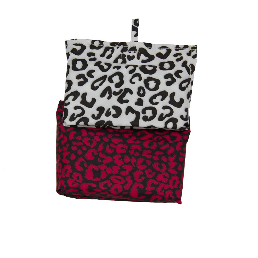 Adult Waterproof Coverall Bib with Carrying Case, 2-pk animal print: Black/White, Black/Red