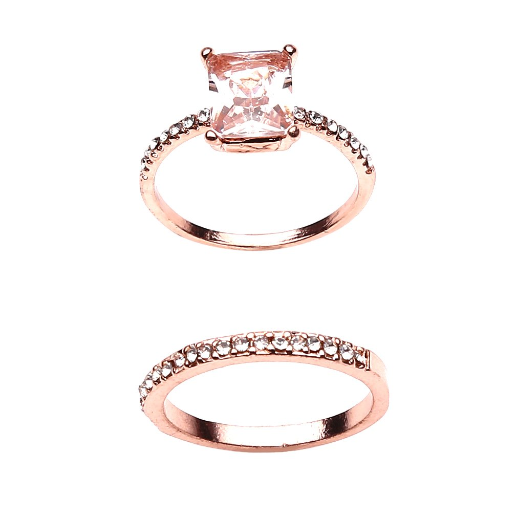 Iumer Floral Ring Set Slim Clear Diamond Wedding Band Ring Jewerly