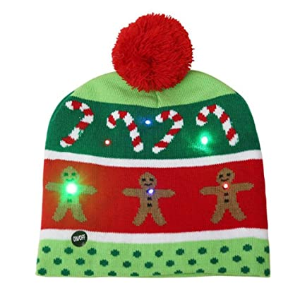 Christmas LED Light Up Hat Beanie Knit Cap Party Colorful Light Christmas  Hat Beanie Winter Snow b932b5ff5ec