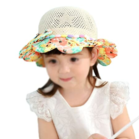 ef55787d01d Kanggest Sun Hat Children Girls Bowknot Cap Fisherman s Hat Summer Beach  Sun Hat Sun Visor Floppy Foldable Sun Hat Outdoor Sunscreen Straw Hat  (Beige)  ...