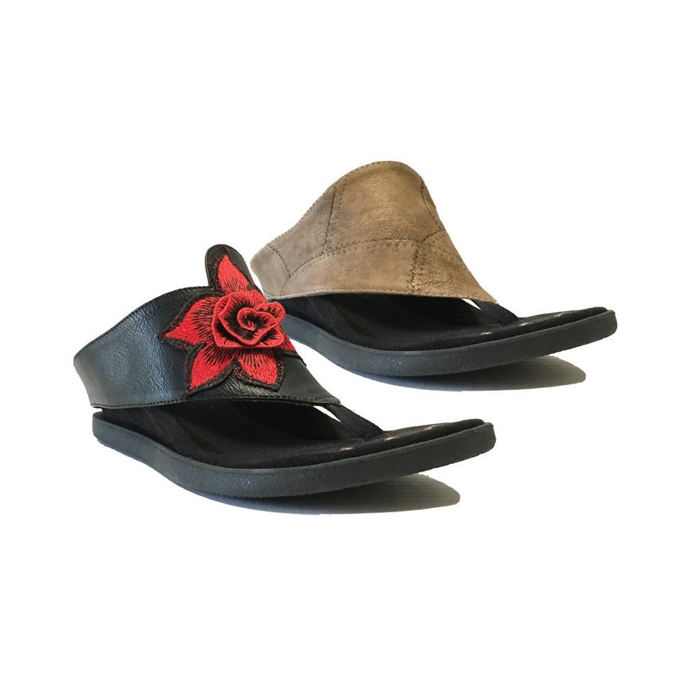 Modzori Women's Sasha Reversible Wedge Sandal B07DLG45K7 6 B(M) US|Black/Beige