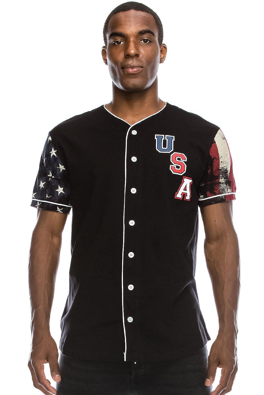 Amazon.com  JC DISTRO Mens Hipster Hip Hop Button-Down Baseball Jersey  Short Sleeve Shirt  Clothing 023009f1d