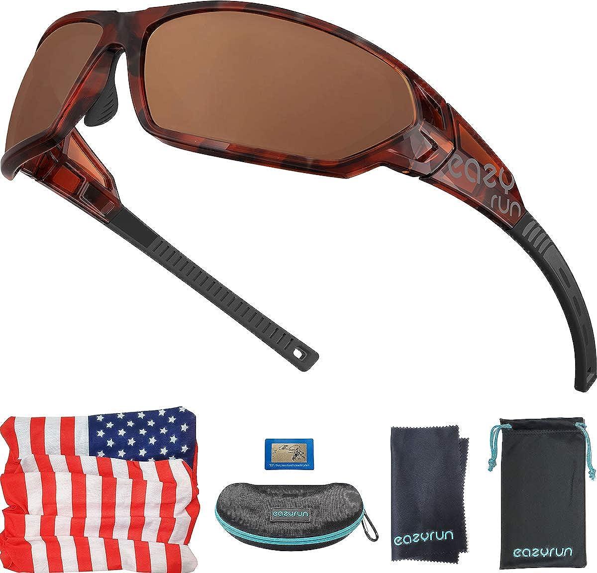 EAZYRUN HD Polarized Sunglasses for Women & Men, w/Scarf, for Running, Cycling