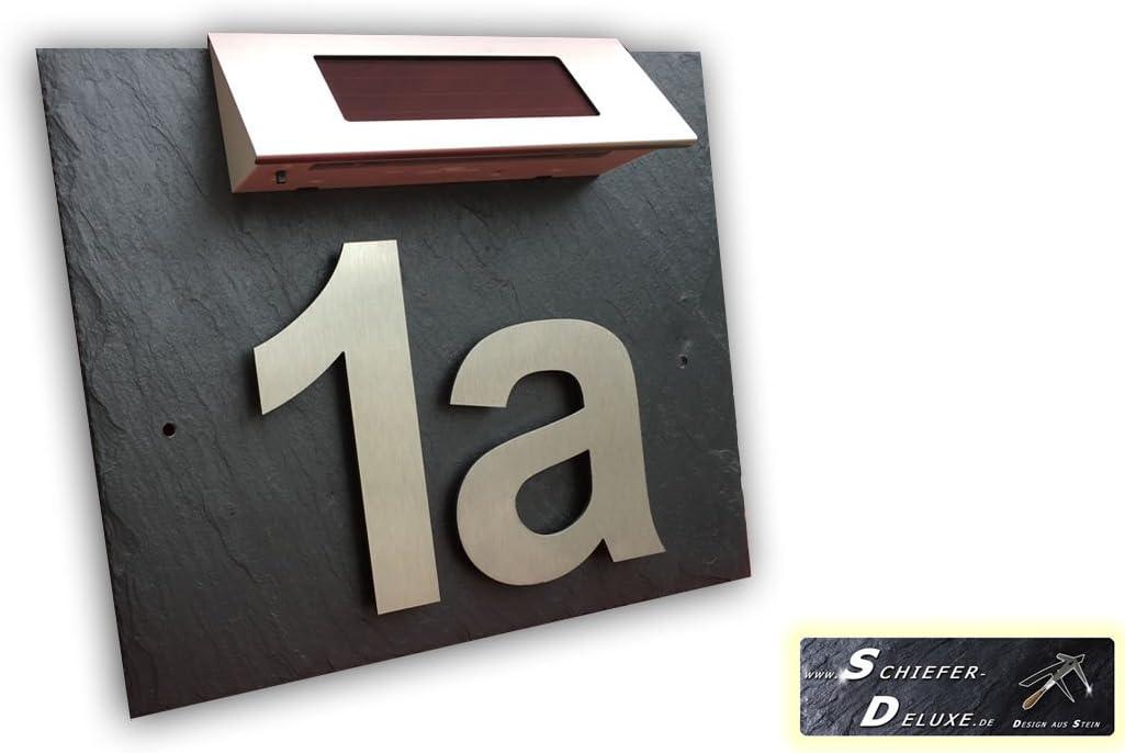 Hausnummer T/ürschild Edelstahl mit Solar Led und Schiefer in 3D Optik Arial