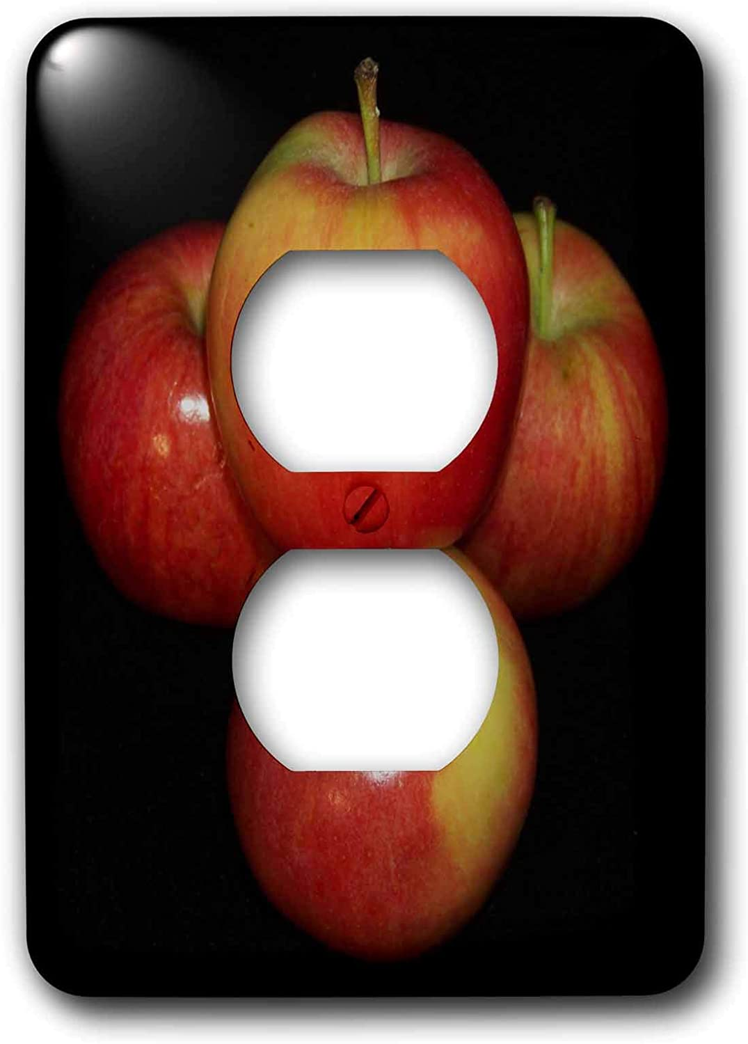 3dRose lsp_21642_6 Red And Yellow Apples Black Background 2 Plug Outlet Cover