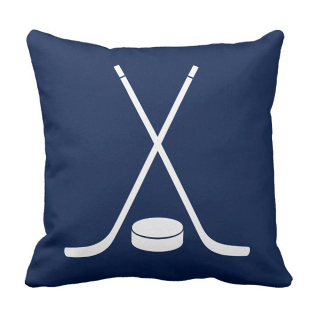 Emvency Throw Pillow Cover Nursery Hockey Sports in Navy Blue Sticks Decorative Pillow Case Home Decor Square 18x18 Inch Pillowcase