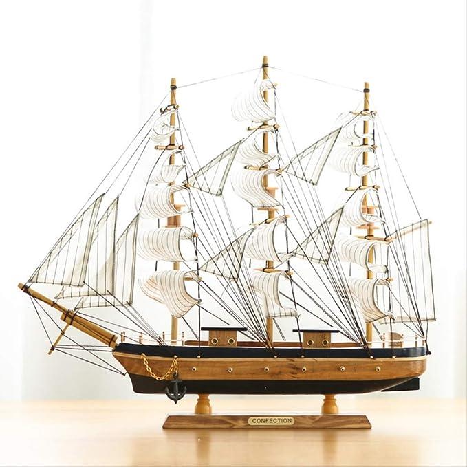 New Wooden Sailing Boat Mediterranean Sailing Ship Furnishing Art Home Ornament
