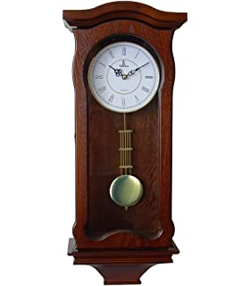 Verona Classic Wood Pendulum Wall Clock With Glass Front   Elegant U0026  Decorative Wood Clock With