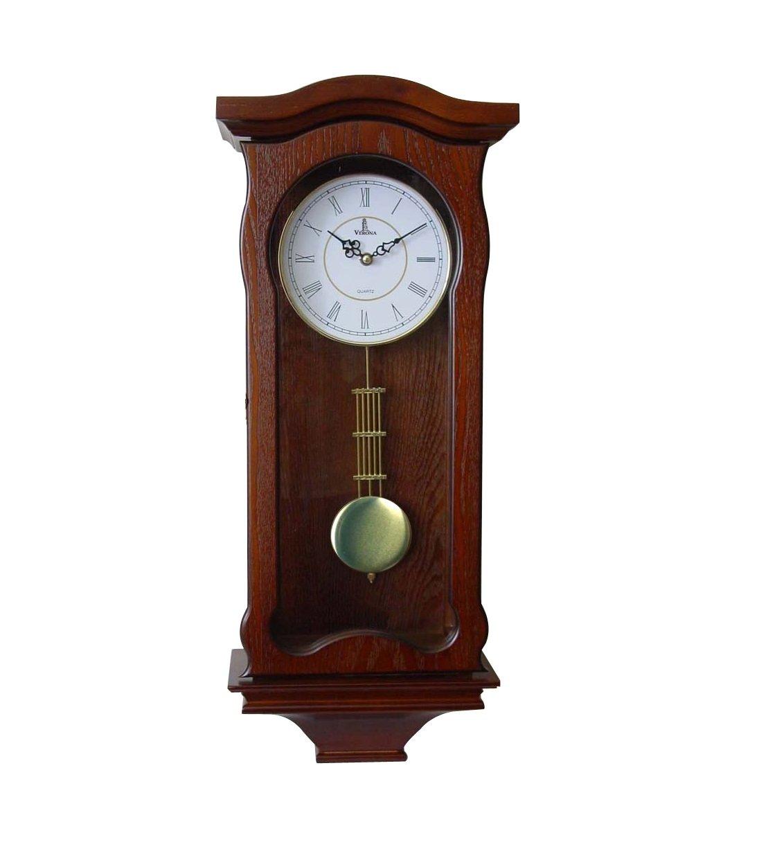 Pendulum Wall Clock Battery Operated - Silent Quartz Wood Pendulum Clock - Dark Wooden Decorative Wall Clock Pendulum, for Living Room, Kitchen & Home Décor, 12.5 x 9.75 Inches