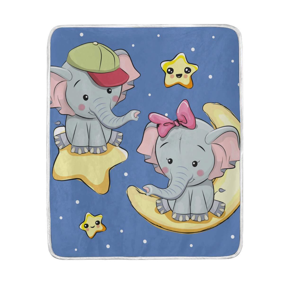 b70bb0923fb8 Amazon.com: CUTEXL Throw Blanket Animal Elephant Star Polka Dots ...