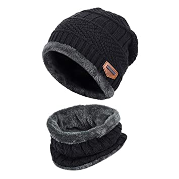 ba65cd5f25c Winter Hat Hat and Scarf Sets for Men   Women Fall Winter Hat Double Layered  Warm Knitted with Nap Cloth Ski Outdoor ...