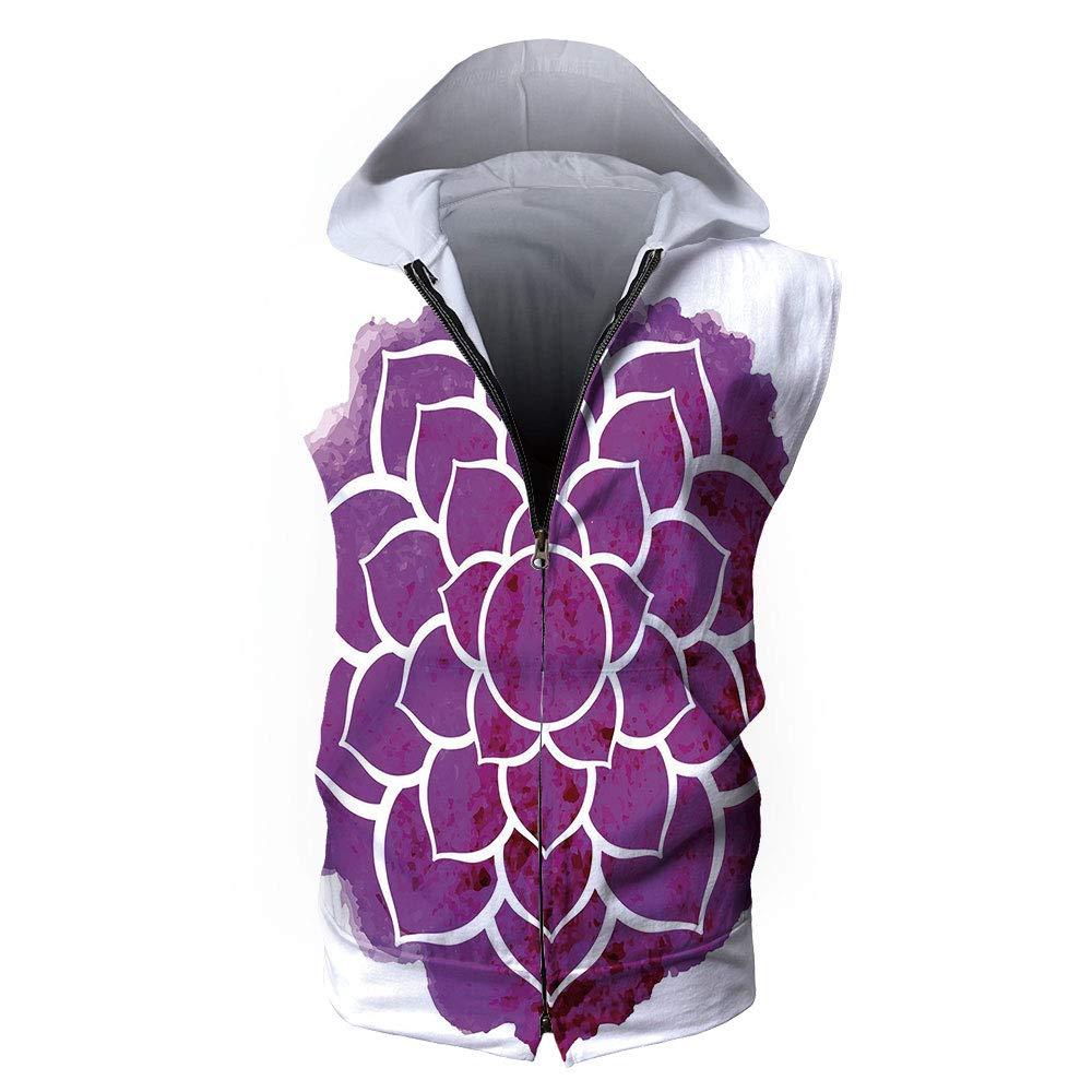 : Men's Sleeveless,Purple Mandala,Watercolor