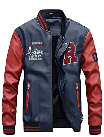 8925b73d0bbb1 Vogstyle Men s PU Leather Varsity College Baseball Jacket Baseball Bomber  Coat Dark Blue XS