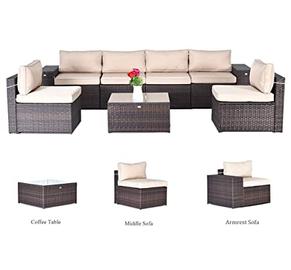 Allstate Patio Furniture.Gotland 7 Piece Set Furniture Sectional Sofa Glass Coffee Table With Washable Tan Cushions For Backyard Pool Patio Incl Ropes Clips Free