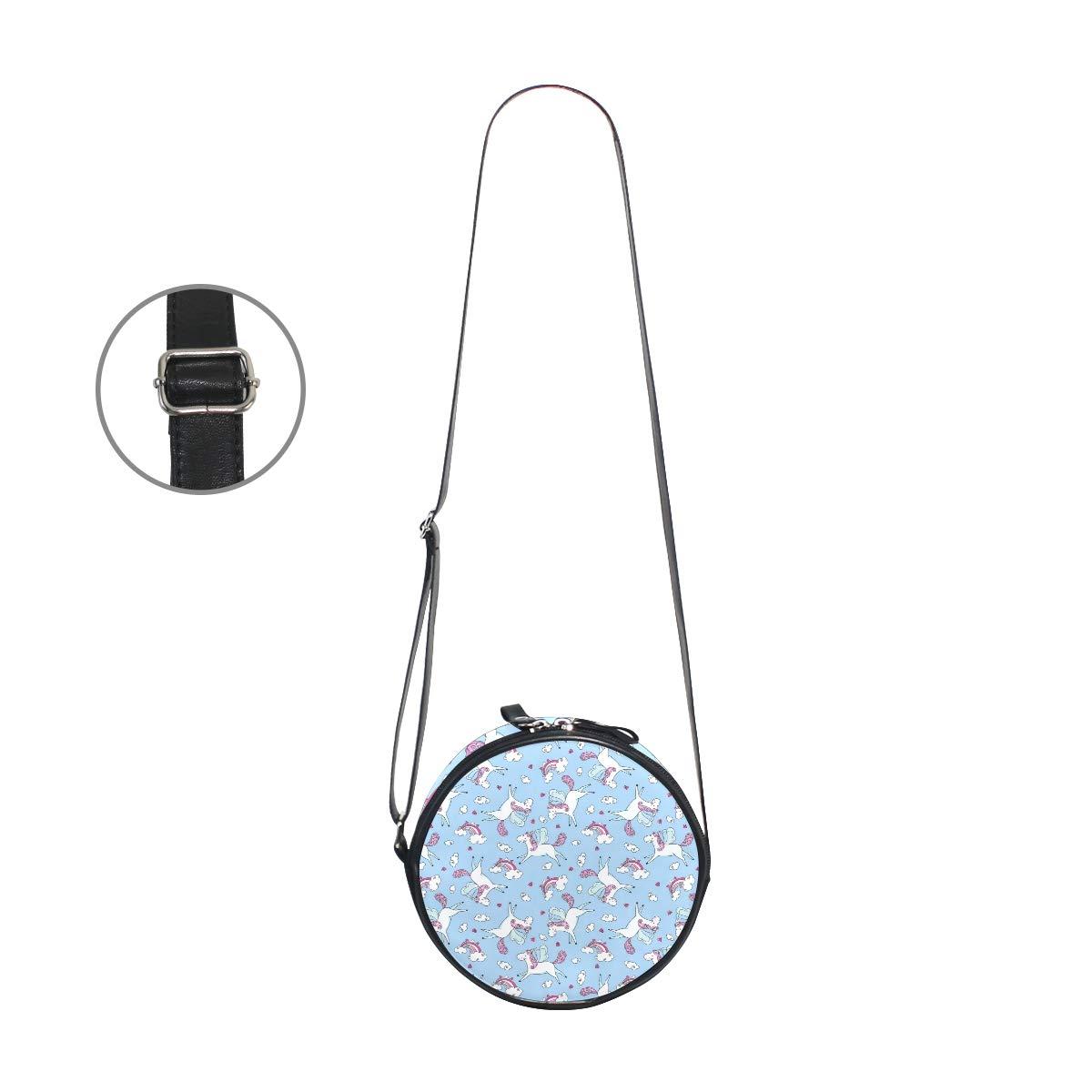 Crossbody Bag Flying Unicorn On A Rainbow Light Blue Womens Casual Phone Pouch Round Shoulder Bag