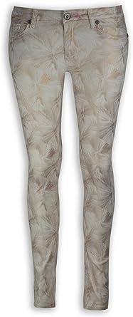 NEW Women Fashion Skinny Slim Gold Flower Print ALL SIZES Sizes Jeans Pants