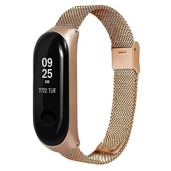 Hombre Mujer Reloj para Correa De Pulsera Ultrafina De Lujo Milanesa De Acero Inoxidable Xiaomi Mi Band 5: Amazon.es: Relojes