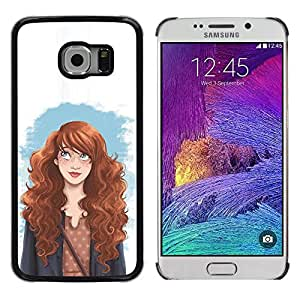 Planetar® ( Smart Redhead Girl Fashion Woman'S Rights ) Samsung Galaxy S6 EDGE / SM-G925 / SM-G925A / SM-G925T / SM-G925F / SM-G925I Fundas Cover Cubre Hard Case Cover