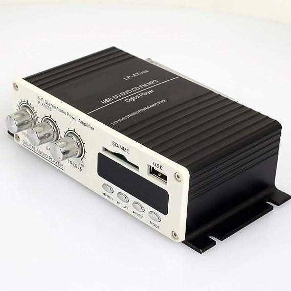 ZZH Amplificador estéreo portátil Universal infrarrojo de FM de 4-8Ohm del Amplificador de Potencia Amplificador: Amazon.es: Coche y moto