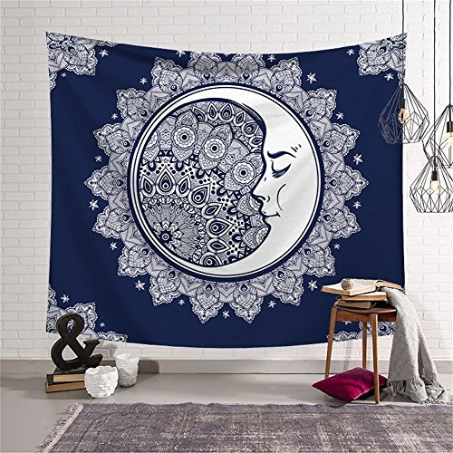 Psychedelic Celestial Sun and Moon with Fractal Faces Decor Tapestry Wall Hanging Hippie Celestial Energy Mystic Art Print for Window Curtain Table Cover Bedspread Beach Towel HYC44-7-L