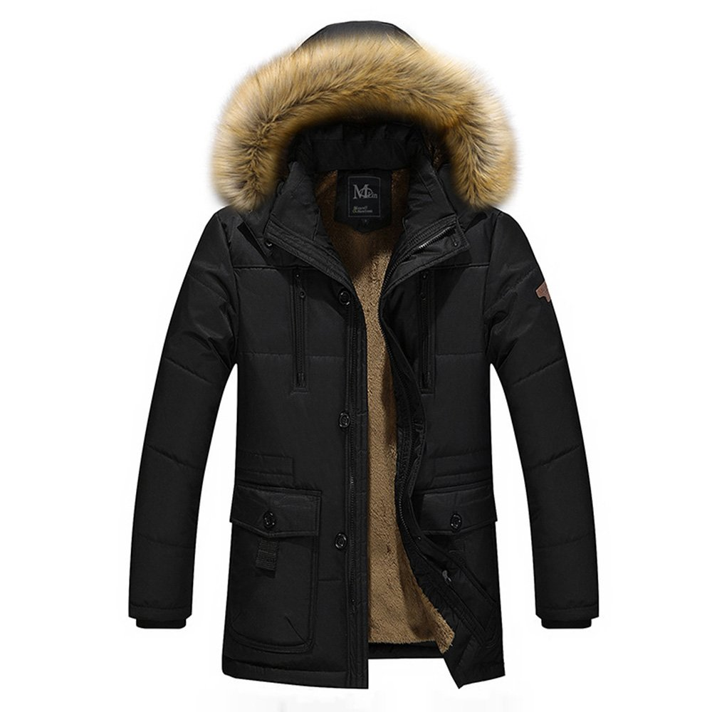 LOVE&FASHION Winter Men Coat Cotton Padded Hooded Down Coat Casual Jacket Loose Parka Fur Collar Outwear (4XL, Black)
