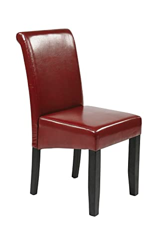 Parsons Chair Upholstery: Crimson Red Bonded Leather