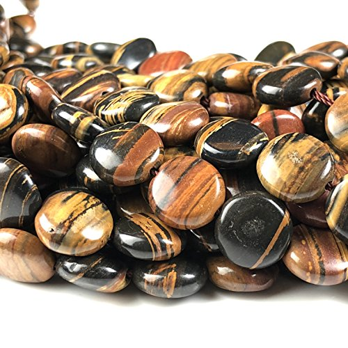 [ABCgems] Rare Madagascan Chocolate Petrified Wood AKA Fossilized Wood (Exquisite Tiger Matrix- Grade AA) 10mm Smooth Coin Beads for Beading & Jewelry -
