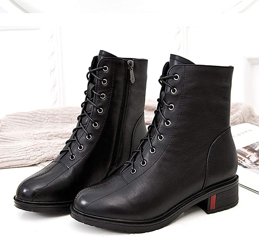 BREAORTION Womens Casual Leather Rubber Sole Martin Boots Ladies Fashion Ankle Boots