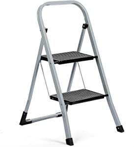 Delxo 2 Step Ladder Folding Step Stool Ladder with Handgrip Anti-Slip Sturdy and Wide Pedal Multi-Use for Household and Office Portable Step Stool Steel 330lbs Gray (2 Feet)