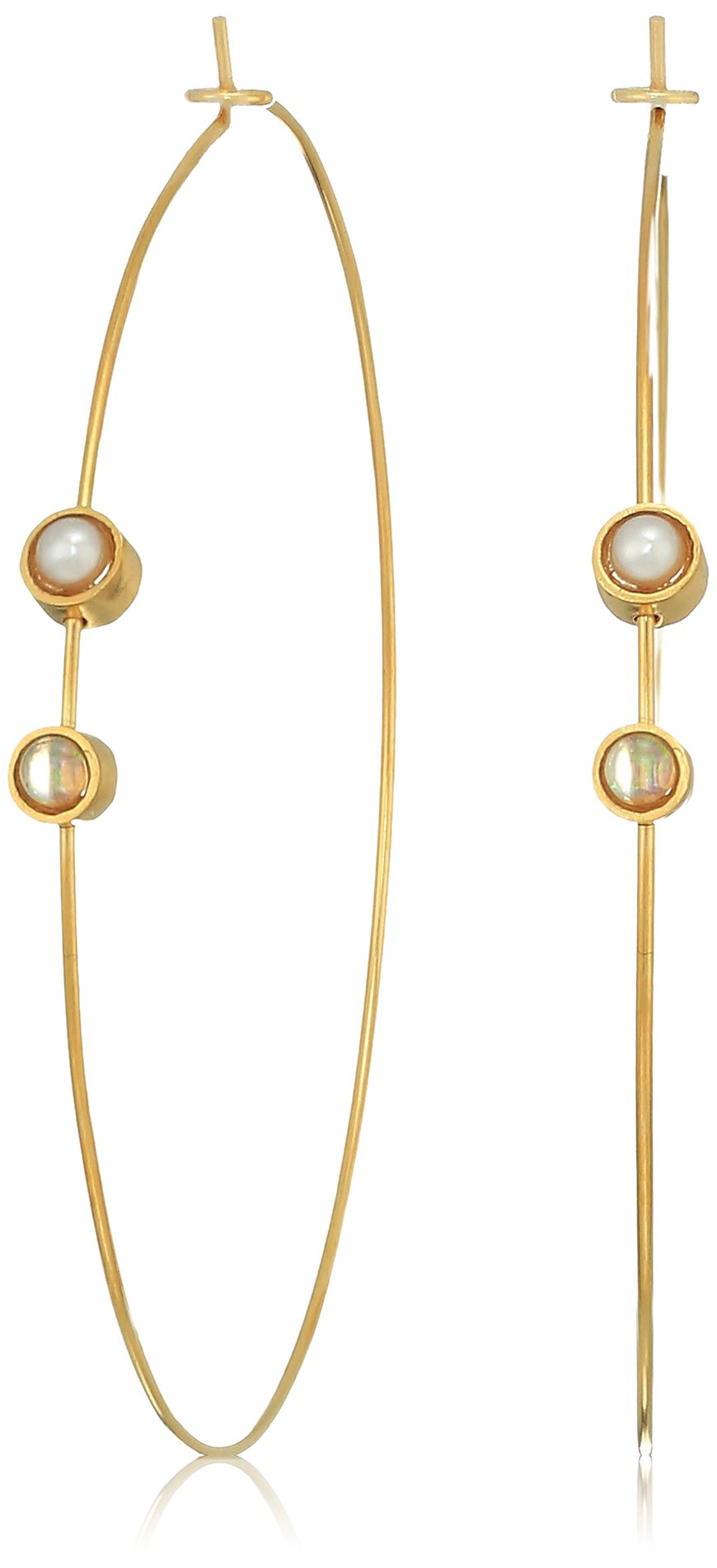 Dogeared Playing By Ear Wing Lip Card Pearl And Opalescence Bezel On Large Hoop Earrings, Gold