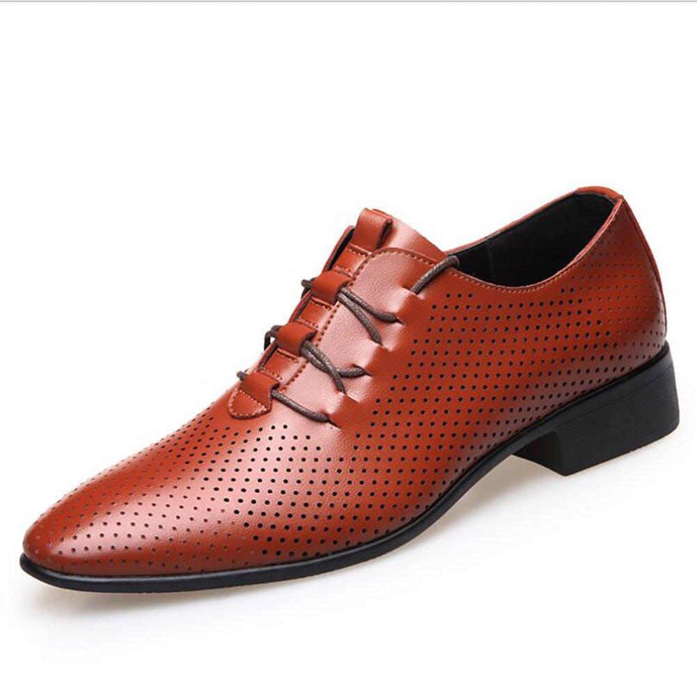GFP Herren Lederschuhe Tüll Sommer Lederschuhe Formale Schuhe Klassische Schnürschuhe Geschäft Schuhe Arbeit Komfort Geschäft Schuhe (Farbe : Braun)