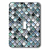 3dRose lsp_272863_1 Multicolor Girly Blue Luxury Elegant Mermaid Scales Glitter Toggle Switch, Mixed