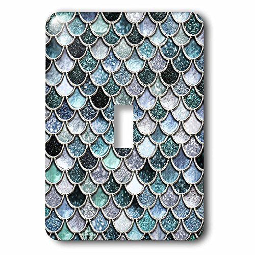 3dRose lsp_272863_1 Multicolor Girly Blue Luxury Elegant Mermaid Scales Glitter Toggle Switch, Mixed by 3dRose
