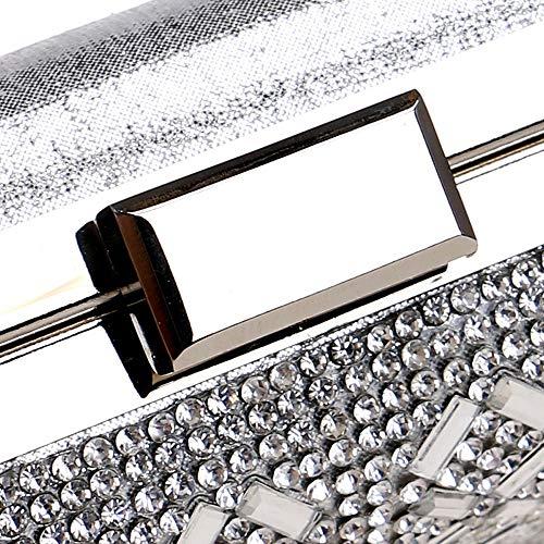 Evening Bridal Black Gold Handbag Silver Crystal Wedding Lady Bag Silver Pu Wedding Bag Gold rwnqcXfFw
