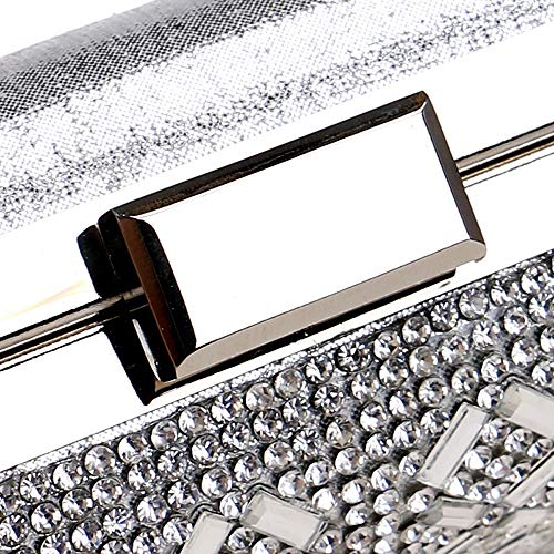 Gold Gold Wedding Lady Wedding Pu Silver Crystal Evening Bag Handbag Bag Bridal Silver Black v407q4