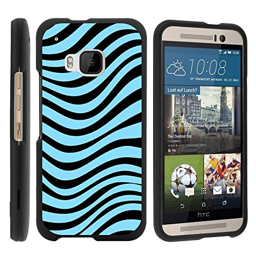 MINITURTLE Case Compatible w/ HTC M9 Case, Slim Fit Snap On Cover w/ Unique, Customized Design for HTC One M9 2015 (AT&T, Sprint, T Mobile, Verizon) Blue Zebra