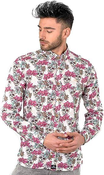 DIVARO - Camisa Estampado Calaveras Manga Larga Color Burdeos - para Hombre: Amazon.es: Ropa y accesorios