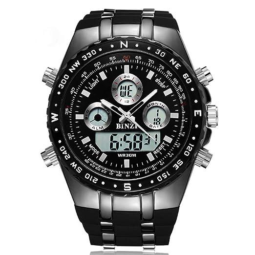 Reloj Digital análogo de los Hombres Impermeable Reloj Digital eléctrico a Prueba de choques Deportivo a Prueba de choques: Amazon.es: Relojes