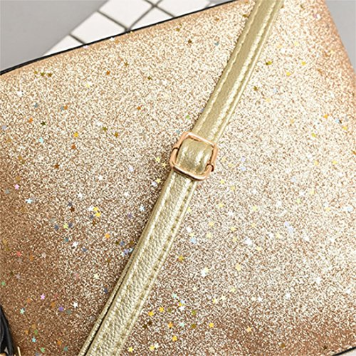 with Bags Deer Womens Crossbody Fashion Shoulder Small PU Sequins Glitter Brown Messenger Bag Leather Bag vH8Unzx