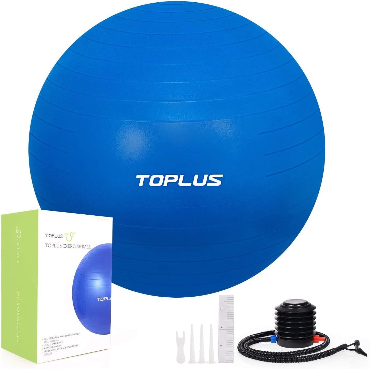 TOPLUS Pelota de Gimnasia Anti-Reventones Bola de Yoga Pilates y Ejercicio Balón para Sentarse Balon de Ejercicio para Fitness 300 kg con Bomba de Aire 65cm (Azul): Amazon.es: Deportes y aire libre