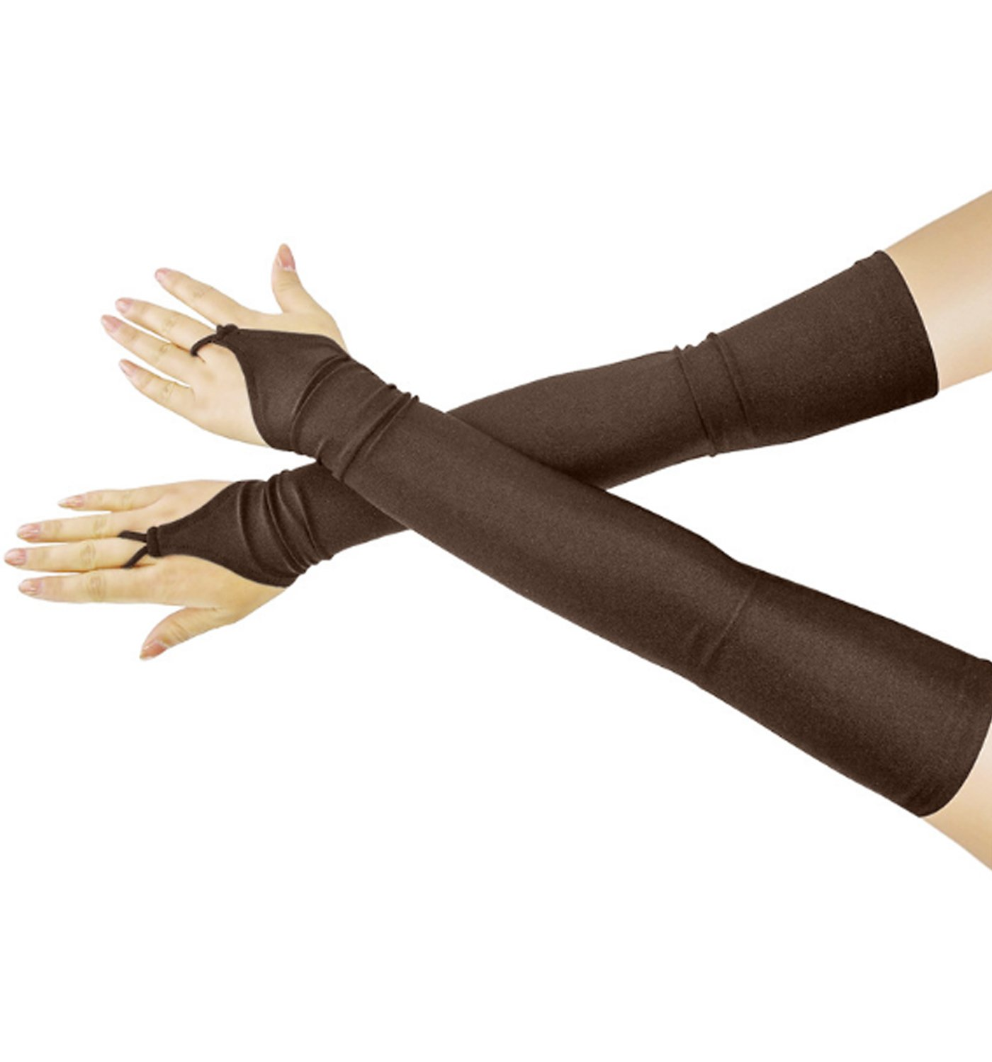 JOKHOO Fingerless Long Over the Elbow Bridal Satin Gloves (Dark brown)
